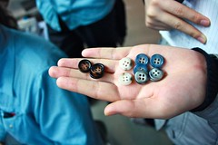 Buttons and Zips (Tara-Leigh) Tags: china blue light cute industry design clothing holding shiny industrial factory hand buttons hipster craft suit hold tailor twee tailoring artsandcrafts gapyear factoryworkers artanddesign canon1000d