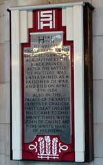 Photo of John of Valois, Geoffrey Chaucer, John of Gaunt, and Edward of Woodstock grey plaque