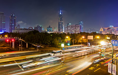 Night at Henan Middle Road (Storkholm Photography) Tags: china road park bus cars skyline night skyscraper nikon traffic tokina  peoplessquare  shangahi d90      tokina1116 huangp henanmiddleroad peoplesrepublicofchina traiictrails