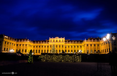 Schnbrunn with Christmas Lights - [EXPLORED] (andreaskoeberl) Tags: schnbrunn vienna christmas longexposure blue people castle silhouette yellow clouds dark weihnachten gold lights austria nikon christmasmarket palace weihnachtsmarkt hour ndfilter 1685 d7000 nikon1685 nikond7000 andreaskoeberl