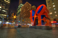 Love and Ghosts and the City at Night (gimmeocean) Tags: nyc newyorkcity longexposure newyork love moma 6thave robertindiana lovesculpture aveoftheamericas gorillapod w55thst theateamrallyingforaurelia originallydesignedasachristmascardforthemuseumofmodernartin1964