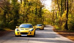 Chasin' (Charles Hopfner | www.carbonphoto.fr) Tags: auto motion cars car yellow jaune woods nikon shot lotus automotive gelb mk2 105 traveling 18 panning tracking mkii exige d90 18105mm worldcars safranyellow