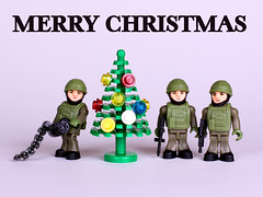 Seasons Greetings to One and All... (Colonel Killgore) Tags: christmas xmas decorations tree soldier uniform lego noel christmastree seasonsgreetings notlego brickarms heresey characterbuildingtoys