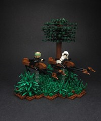 Speeder Bike Chase (Walter Benson) Tags: trooper tree nature forest outside star starwars lego bikes scout scene plastic imperial sciencefiction wars lukeskywalker vignette diorama returnofthejedi endor scouttrooper rotj fbtb episode6 episodevi speederbikes eurobricks swooshable eurobricksstarwarsepisode6communitybuild