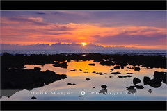 Sunset at the Pacific - Hawaii (~ Floydian ~ ) Tags: ocean blue sunset sea usa cloud seascape color tourism water colors rock stone clouds america canon landscape island hawaii lava big rocks view state pacific stones postcard smooth romance postcards fields states bigisland 50 viewpoint meijer henk eveninglight warmcolours hawaii50 floydian proframe proframephotography canoneos1dsmarkiii henkmeijer