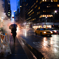 (Che-burashka) Tags: life city nyc ny newyork rain night umbrella evening lowlight lexington taxi smoke steam rainy avenue canonef28mmf18usm artlibres urbanlyric