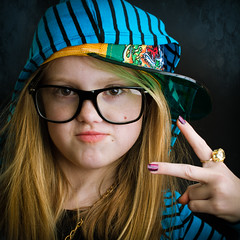 Tell Me Something I Don't Know (b*wag) Tags: portrait girl glasses peace ring hood bling holla dolladollabillyall
