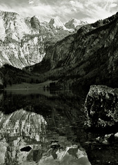 knigsee. obersee 5 (B&W) (deep_schismic) Tags: blue trees summer sky bw white lake black tree nature water germany landscape bayern deutschland bavaria see berchtesgaden photo blackwhite am nikon hiking sommer natur oberbayern himmel land winkel blau landschaft weiss bume baum schwarz wandern weg blauer glacial pristine maler d300 knigsee obersee bgl weis glaciallake koenigsee sgs schnau berchtesgadener flickraward schnauamknigsee malerwinkelweg flickraward5 flickrawardgallery