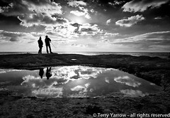 Gone fishing! (Terry Yarrow) Tags: uk sea england sky blackandwhite love sport mystery contrast canon reflections portland coast fishing couple rocks dorset backlit contrejour possibles eos5d dorsetcoastpath