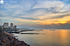 Sunset at Marine Drive, Mumbai - India ( Rizwan Mithawala) Tags: sunset sea sun india rock architecture point hotel nikon rocks small n kitlens promenade bombay 1855mm mumbai clarify hdr bldg marinedrive rizwan tetrapods nariman autocolor mithawala nikond5100 dsc043312 detenstd 3200px pthp