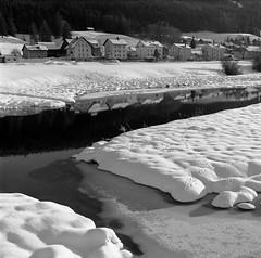 L'Orient (Tonton Dave) Tags: winter snow ice monochrome river landscape switzerland suisse tmax hiver rivière neige orbe paysage yashica glace vaud lorient valléedejoux formatcarré