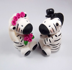 Zebras Wedding Cake Topper (HeartshapedCreations) Tags: africa pink flowers wedding white black cute animal groom bride veil handmade bowtie marriage safari polymerclay tophat bouquet occasion keepsake