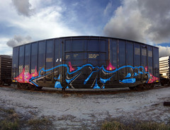 A U B ' s (TRUE 2 DEATH) Tags: railroad autostitch panorama train graffiti pano tag graf trains panoramic railcar spraypaint railways stitched railfan freight aub villains cbs freighttrain autostitched rollingstock endtoend autopano  lgf stitchedpanorama autopanopro benching freigh