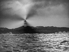 Lighthouse (kenny barker) Tags: winter light sea bw monochrome landscape lumix lights scotland rocks fife elie hypothetical coastuk saariysqualitypictures panasonicgf1 netartii kennybarker
