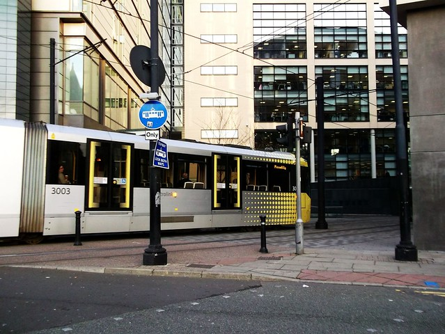 02-281111 MANCHESTER. tram 3003 Piccadilly service Shepley Street.