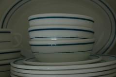 Blue Band (the_robins.nest) Tags: kitchen vintage retro mug plates bowls platter pyrex blueband restaurantware opalglass