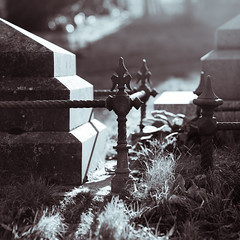 the graveyard scene (penwren) Tags: old light shadow england graveyard canon sussex iron tombstone 85mm churchyard ironwork railings ditchling canoneos5dmarkll