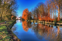 (john edward michael1) Tags: trees sunset england ice clouds canon reflections landscape boats canal buckinghamshire bluesky aylesbury tring bucks hdr picnik grandunioncanal waterways herts narrowboats aylesburyvale astonclinton marsworth bulbourne eos450d mygearandme mygearandmepremium mygearandmebronze