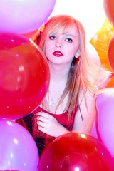 Call me colorful, that's what I am [13/52] (Haley Marshall Photography) Tags: red orange colors yellow balloons bathroom is ally colours purple bright canoneos10d flash f18 cramped 50mmlens