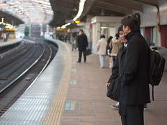 Platform talkers (kasa51) Tags: street city people station japan lumix platform panasonic yokohama  gf1