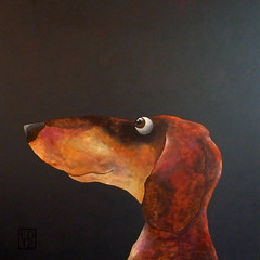 157 The Dark Knight (edartr) Tags: dog color painting eyes acrylic ears dachshund canvas wetpaint newwork 2012 tekkel blackandtan joep dox darkbackground 100x100cm workingtowardsashow