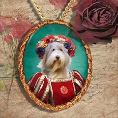 Bearded Collie Pendant Porcelain Handmade - Red Princess Gold Frame PN