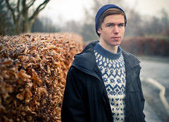 Rory (Declan Corcoran) Tags: road trees winter boy portrait man cold wool grass hat leaves canon 50mm prime frost adobe hedge lane jumper 18 lightroom 500d