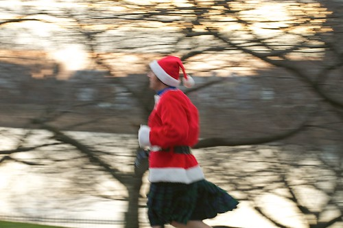 santa running to the start winter celtic solstice