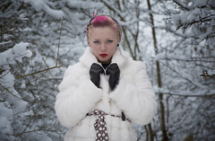 Laura (lucybuckingham) Tags: pink trees winter 2 portrait white snow laura cold ice nature beauty fashion photoshop canon hair fur mark coat freezing gloves ii 5d lipstick mk alternative cs5 hurely