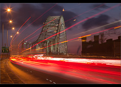 Rush Hour....... Runcorn Bridge (Chrisconphoto) Tags: longexposure bridge sunset colour architecture canon eos lowlight le rushhour runcorn merseyside widnes traffictrails runcornbridge