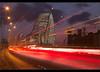 Rush Hour....... Runcorn Bridge (Digital Diary........) Tags: longexposure bridge sunset colour architecture canon eos lowlight le rushhour runcorn merseyside widnes traffictrails runcornbridge