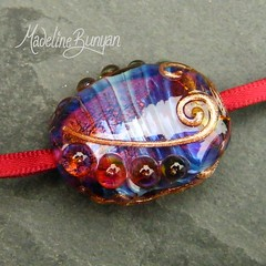 """Vibrant Pink, Purple & Gold Lampwork Large Focal Bead - abstract • <a style=""""font-size:0.8em;"""" href=""""https://www.flickr.com/photos/37516896@N05/6842265785/"""" target=""""_blank"""">View on Flickr</a>"""