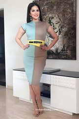 Sunny Leone's in Blue Beige Skirt promoting One Night Stand Movie (shaf_prince) Tags: india fashion highheels actress bollywood shortskirt 2016 sunnyleone designerwear advitiya shilpapuriidesignerjewellery