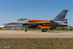 F-16C Block 52M Fighting Falcon (005), 335 Squadron, 116 Wing, Hellenic Air Force, Tiger Meet 2016, Zaragoza, Spain (harrison-green) Tags: canon airplane greek spain force outdoor aircraft aviation air tiger jet fast sigma off zaragoza falcon take vehicle block fighting meet 52 2016 afterburner hellenic f16c reheat 700d 150500mm