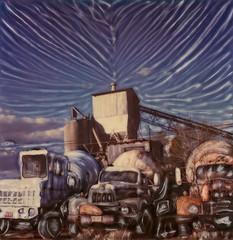 Cement Works (tobysx70) Tags: toby arizona plant film polaroid sx70 photography factory cementmixer time cement mixer az bluesky manipulation 66 route works instant trucks sonar hancock zero rt rte tz emulsion lorries