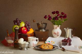 Still life breakfast arrangment