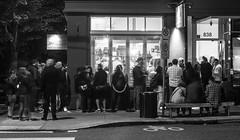 Salt & Straw (pillarsoflight) Tags: people blackandwhite bw classic monochrome beauty bike night oregon trash 35mm dark portland prime aperture nikon rope line adobe icecream lane pdx desaturated bikelane trashcan dairy 18 crosswalk pnw address lightroom 838 d3300 saltstraw
