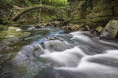 Troll Bridge [explore - 31.05.16] (manphibian) Tags: bridge water river flow waterfall moss rocks stream dell healey rochdale healeydell
