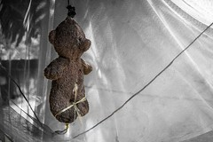 Poor teddy (Syahrel Azha Hashim) Tags: bear travel light shadow vacation stilllife holiday detail colors 35mm prime colorful doll dof teddy getaway sony details naturallight nopeople whitebackground negativespace malaysia handheld shallow concept moment minimalism simple pahang tamannegara hanged a7ii colorimage selectivecoloring sonya7 syahrel ilce7m2
