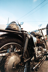 Backfire Gaze (chickentender (Eyewanders Foto)) Tags: film backyard bikes 35mmfilm motorcycle ballard ralley colornegative pentaxlx motorcycleralley k24mmf28 beerandbikes solaris100 rubbersidedown 135format backfiremoto summer2016 everybodyswelcome eyewandersfoto filmferrania pakonscan analogueway pakonf135scan june2016backfire ratbikesanddiy