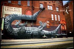At Antique Apartments in Atlanta, an Artist is Seen Attacking an Alligator in the Afternoon (inneriart) Tags: old atlanta woman selfportrait streetart me girl lady female georgia photography graffiti jumping funny downtown raw dancing tag fineart attack aligator saltlakecity spraypaint hg freelance roa freelancer inneri hannahgalliinneri nikond300s photoshopcs5 inneriart wholehannah