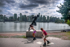 Rollerblading in Vancouver (Fil.ippo (on vacation)) Tags: park panorama vancouver cityscape skating harry columbia stanley skate roller jerome british blade rollerblade hdr filippo paesaggio pattini d5000 schettini