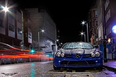 SLR (Sukun Photography) Tags: blue light slr london rain night canon eos benz trails mclaren v8 40d sukun mercedec