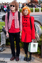 Harajuku Red (tokyofashion) Tags: winter red guy girl smile fashion japan japanese tokyo couple boots coat harajuku cocacola hairstyle streetfashion 2011