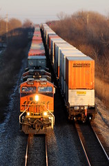Coming and Going (JayLev) Tags: santafe container bnsf stacker stacktrain twotrains transcon