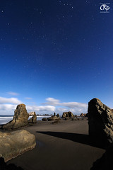 Bandon by Star (Chris Ross Photography) Tags: ocean longexposure blue sky brown moon white seascape color beach nature wet water night clouds oregon dark stars photography coast long exposure waves photographer shadows angle pacific wave atmosphere astro nighttime coastal astrophotography moonlight bandon pnw masterpiece h20 stacks waterscape chrisross 1424 flickrsbest d700