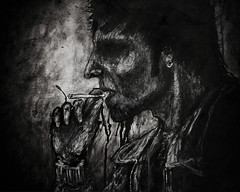 Mark Lanegan Painting (.drew (Andrew Kelly)) Tags: portrait blackandwhite music art illustration ink watercolor scotland artwork acrylic artistic glasgow cigarette smoke smoking professional watercolour expressive illustrator queensofthestoneage marklanegan 2011 screamingtrees soulsavers theguttertwins portraitillustration thegravediggerssong bluesfuneral
