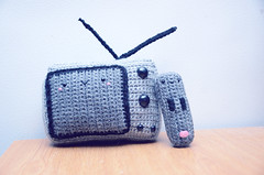 t.v. and remote (callie callie jump jump) Tags: black smile burlington tv vermont handmade crochet gray kawaii remote amigurumi