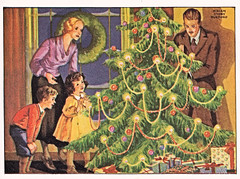 On Christmas morning the tree was covered with shining lights and balls of rainbow colors (katinthecupboard) Tags: christmas christmastree vintagechildrensbooks childrens vintage vintagechildrensillustrations miriamstoryhurford illustrations hurfordmiriamstory