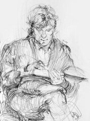 Reading Man (artsentinel) Tags: portrait portraiture figuredrawing sketchbookdrawings citypeople portraitdrawing artisticanatomy subwaysketches urbansketchers urbansketcher newyorkcitycommuters subwaysketcher keithgunderson subwaysketchers